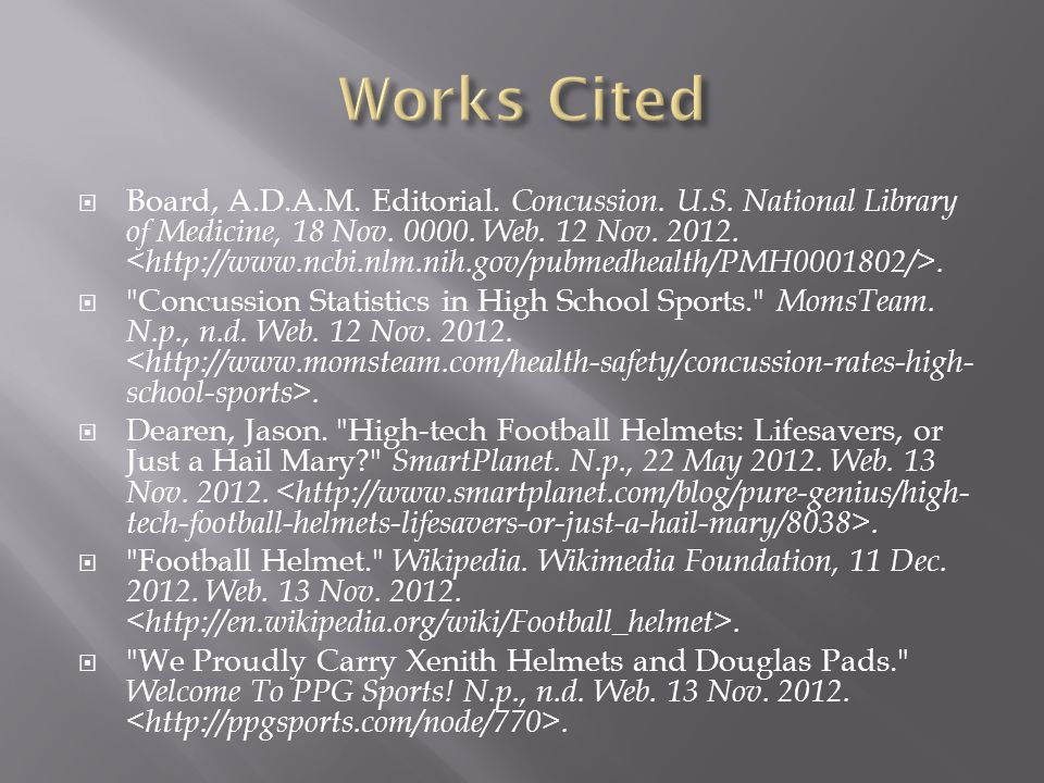  Board, A.D.A.M. Editorial. Concussion. U.S. National Library of Medicine, 18 Nov.