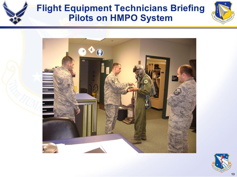 19 Flight Equipment Technicians Briefing Pilots on HMPO System