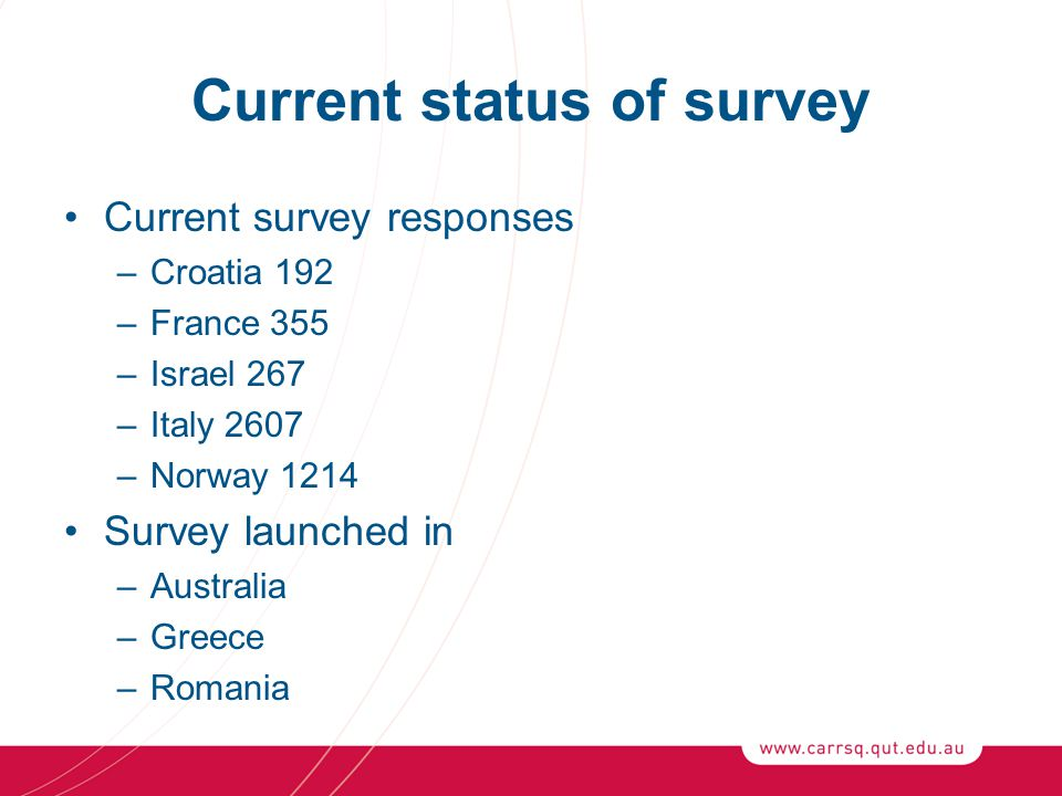 Current status of survey Current survey responses –Croatia 192 –France 355 –Israel 267 –Italy 2607 –Norway 1214 Survey launched in –Australia –Greece –Romania