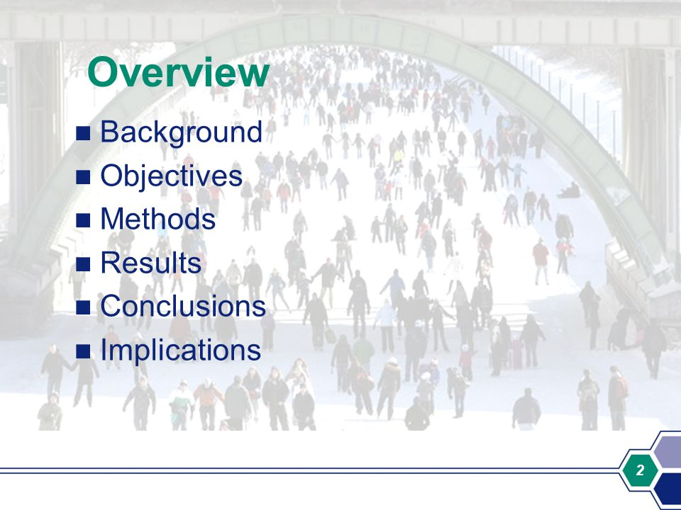 2 Overview Background Objectives Methods Results Conclusions Implications