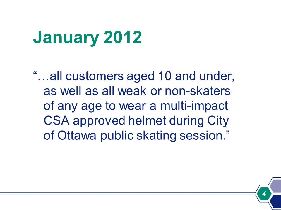 4 January 2012 …all customers aged 10 and under, as well as all weak or non-skaters of any age to wear a multi-impact CSA approved helmet during City of Ottawa public skating session.
