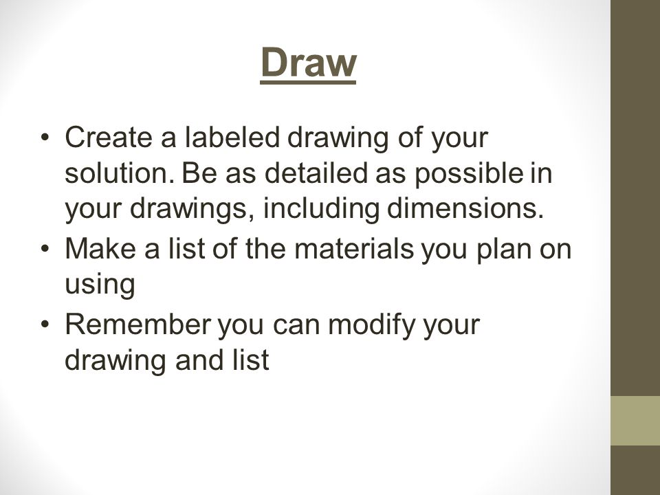 Draw Create a labeled drawing of your solution.