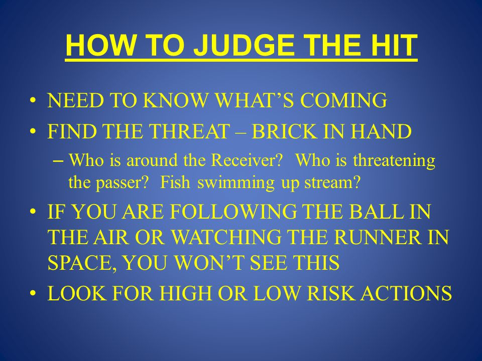 HOW TO JUDGE THE HIT NEED TO KNOW WHAT'S COMING FIND THE THREAT – BRICK IN HAND – Who is around the Receiver.