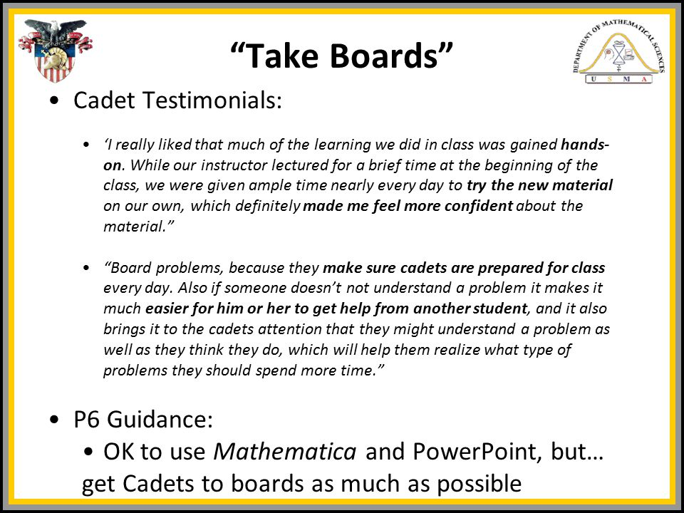Cadet Testimonials: 'I really liked that much of the learning we did in class was gained hands- on.
