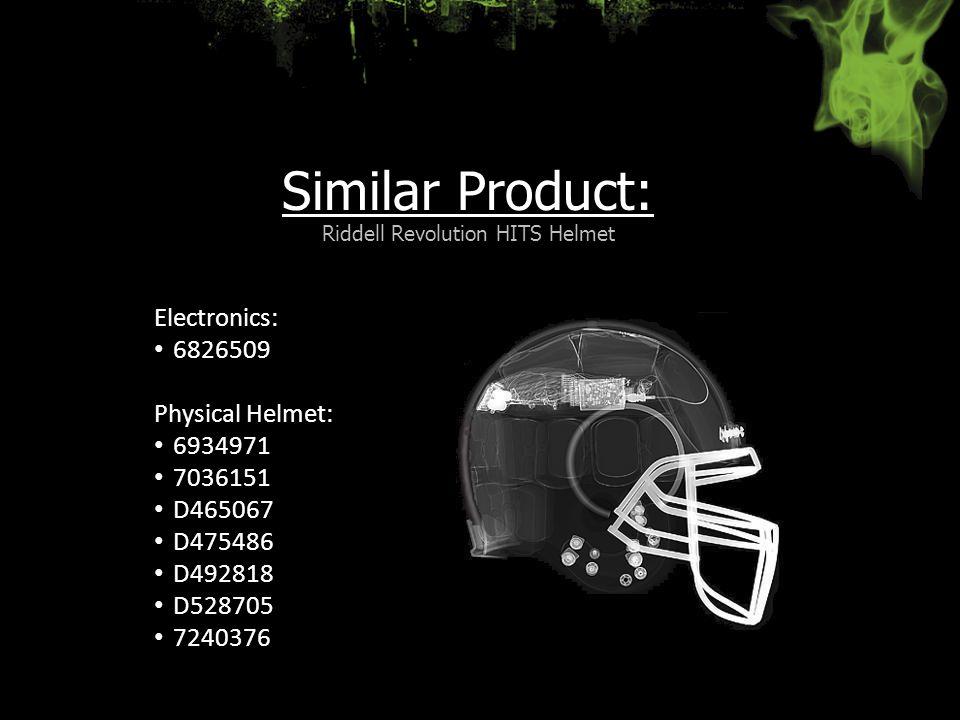Similar Product: Riddell Revolution HITS Helmet Electronics: 6826509 Physical Helmet: 6934971 7036151 D465067 D475486 D492818 D528705 7240376