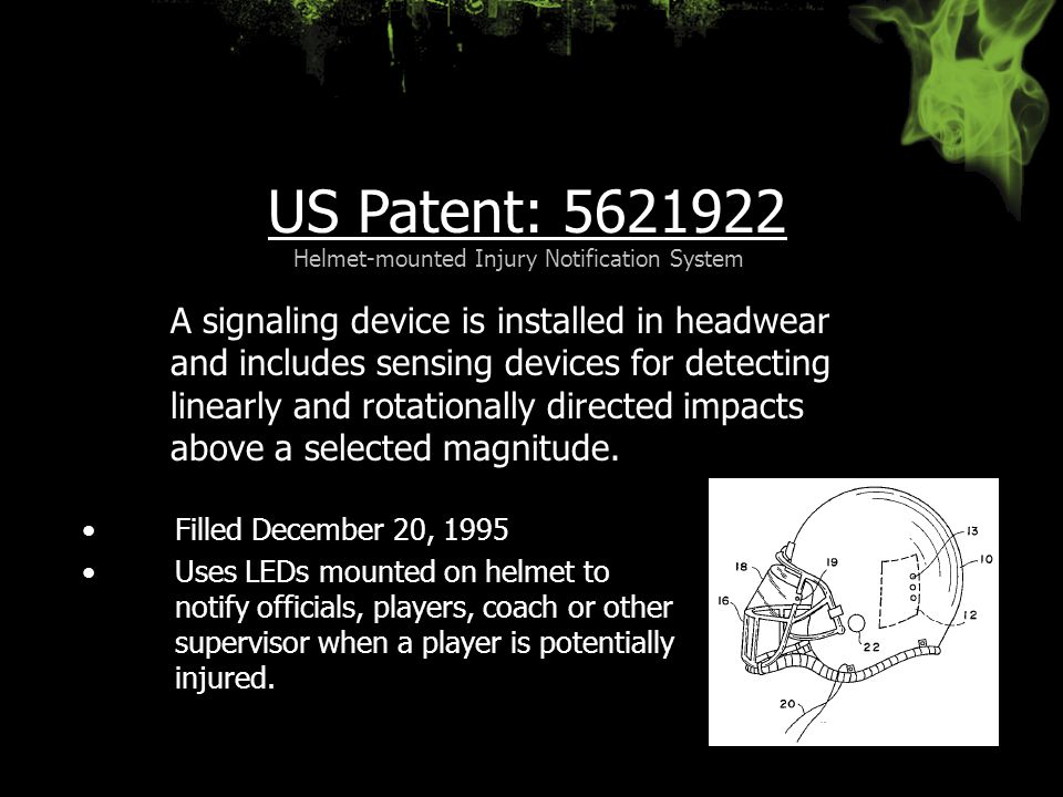 US Patent: 5621922 Filled December 20, 1995 Uses LEDs mounted on helmet to notify officials, players, coach or other supervisor when a player is poten