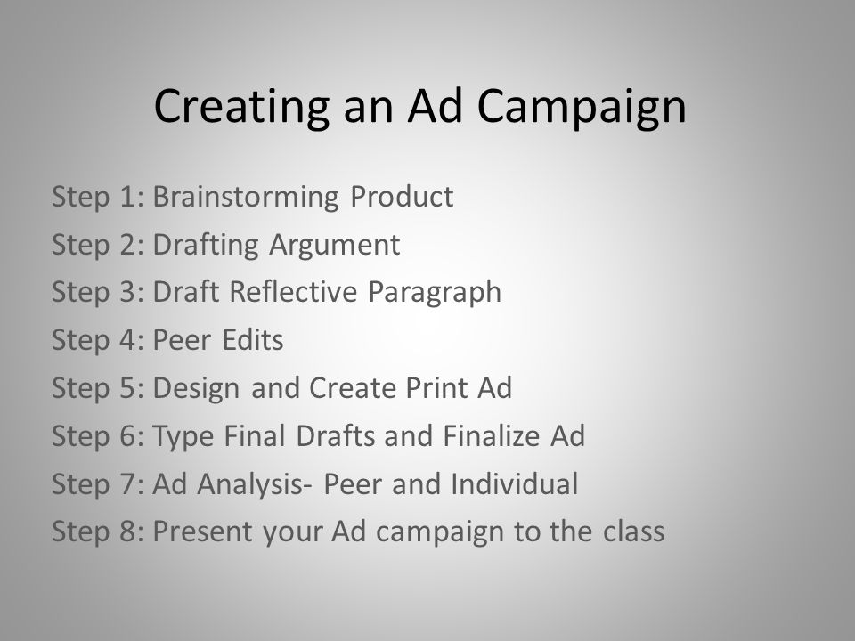 Creating an Ad Campaign Step 1: Brainstorming Product Step 2: Drafting Argument Step 3: Draft Reflective Paragraph Step 4: Peer Edits Step 5: Design a
