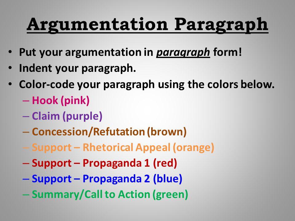Argumentation Paragraph Put your argumentation in paragraph form.