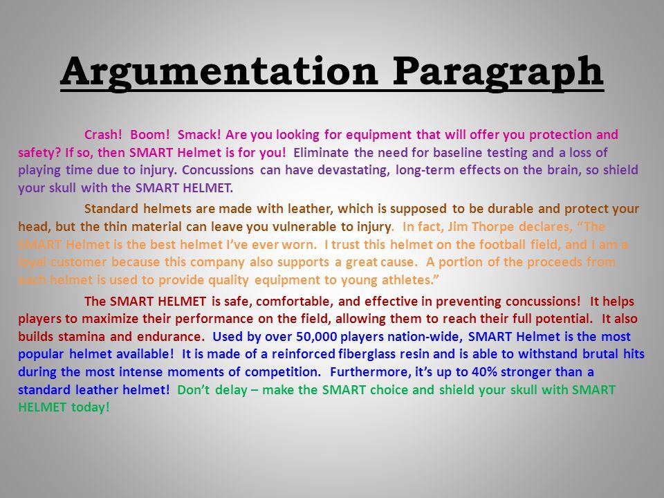 Argumentation Paragraph Crash. Boom. Smack.