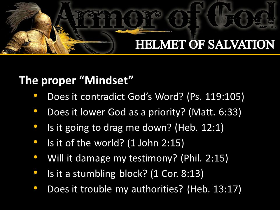 The proper Mindset Does it contradict God's Word.