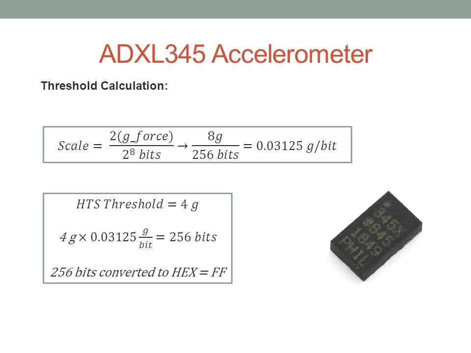 ADXL345 Accelerometer Threshold Calculation: