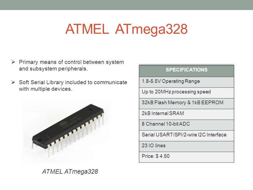 ATMEL ATmega328  Primary means of control between system and subsystem peripherals.