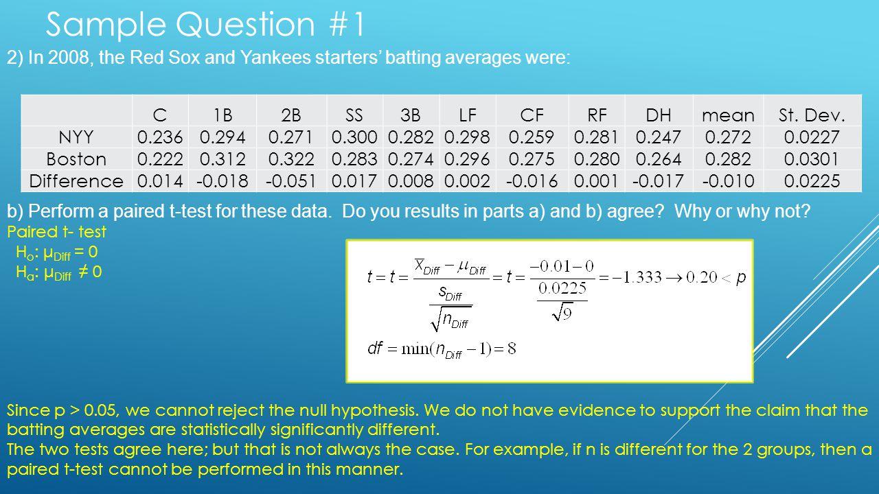 Sample Question #1 C1B2BSS3BLFCFRFDHmeanSt. Dev. NYY0.2360.2940.2710.3000.2820.2980.2590.2810.2470.2720.0227 Boston0.2220.3120.3220.2830.2740.2960.275