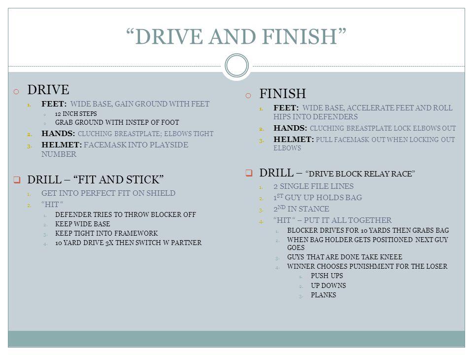 DRIVE AND FINISH o DRIVE 1.