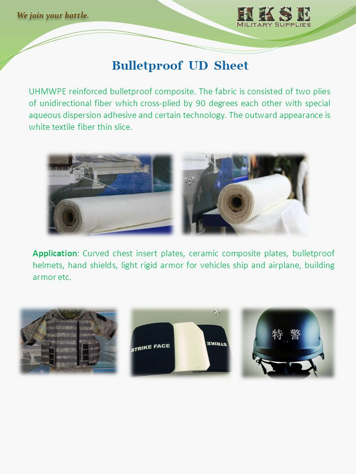 Bulletproof UD Sheet UHMWPE reinforced bulletproof composite. The fabric is consisted of two plies of unidirectional fiber which cross-plied by 90 deg