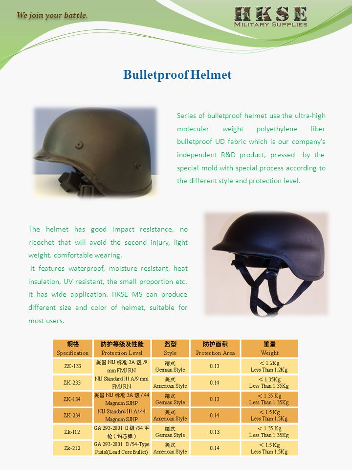 Bulletproof Helmet Series of bulletproof helmet use the ultra-high molecular weight polyethylene fiber bulletproof UD fabric which is our company's in