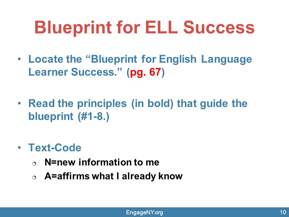 Blueprint for ELL Success Locate the Blueprint for English Language Learner Success. (pg.