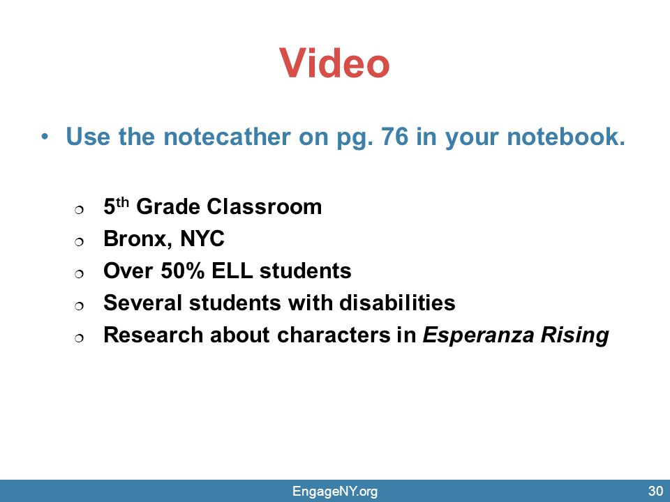 Video Use the notecather on pg. 76 in your notebook.