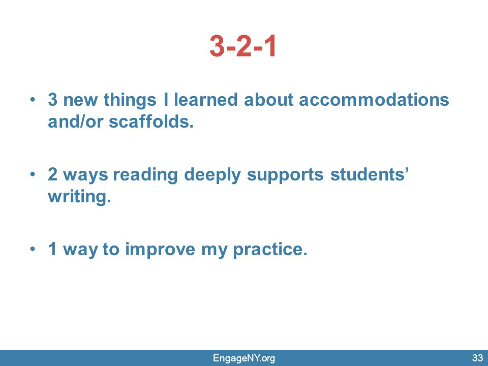 3-2-1 3 new things I learned about accommodations and/or scaffolds.