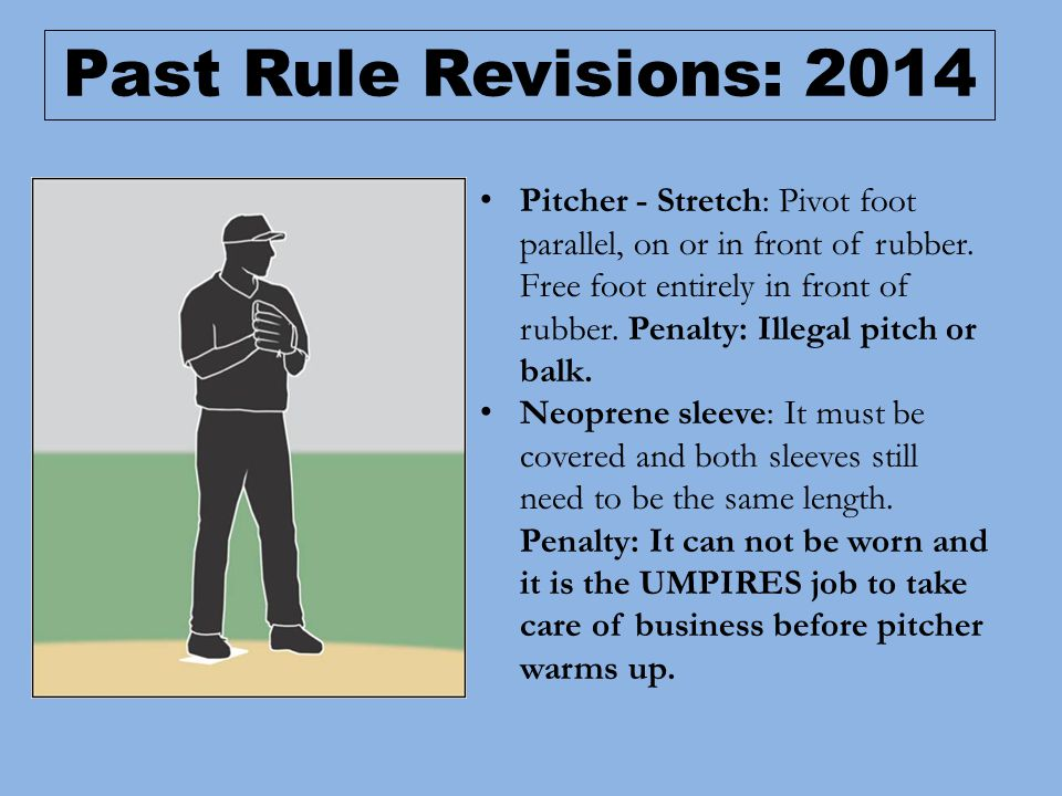 Pitcher - Stretch: Pivot foot parallel, on or in front of rubber.