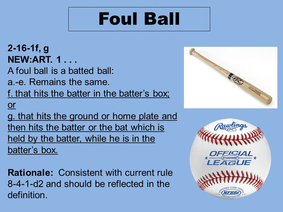 2-16-1f, g NEW:ART. 1... A foul ball is a batted ball: a.-e.