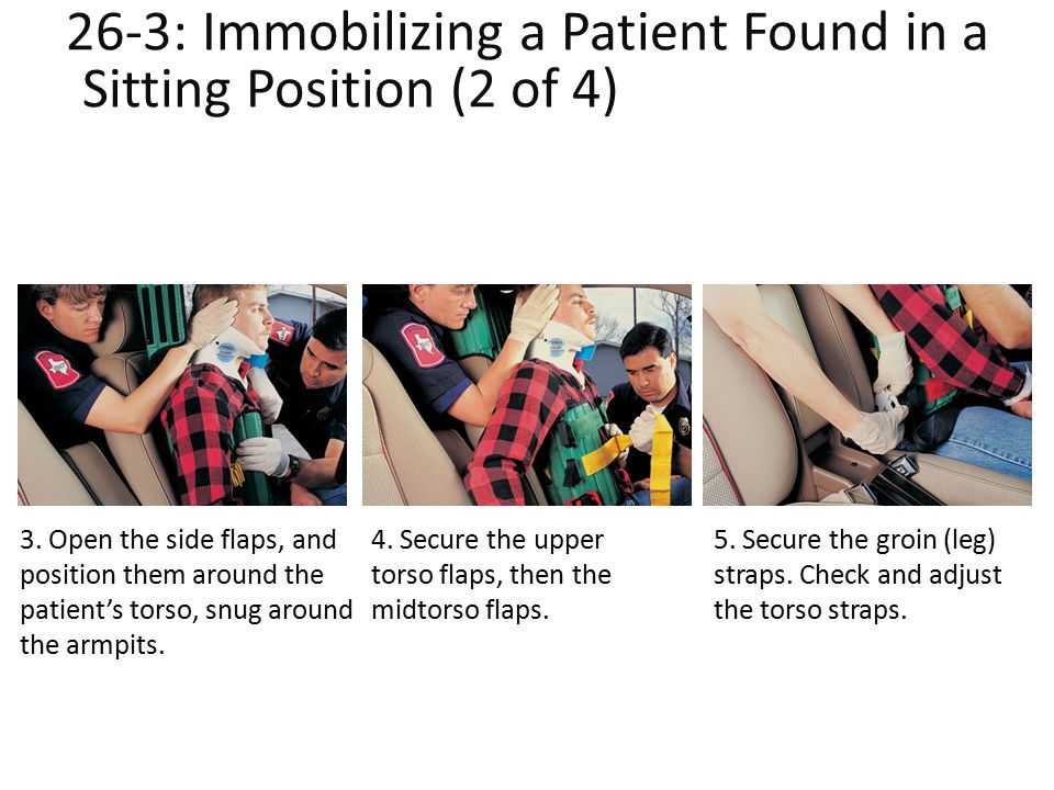26-3: Immobilizing a Patient Found in a Sitting Position (2 of 4)lent Found in a Sitting Position (2 of 4) 3. Open the side flaps, and position them a