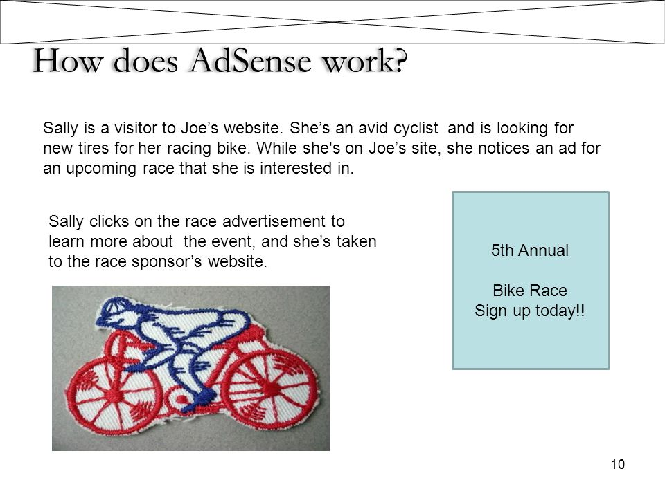 How does AdSense work? Sally is a visitor to Joe's website. She's an avid cyclist and is looking for new tires for her racing bike. While she's on Joe
