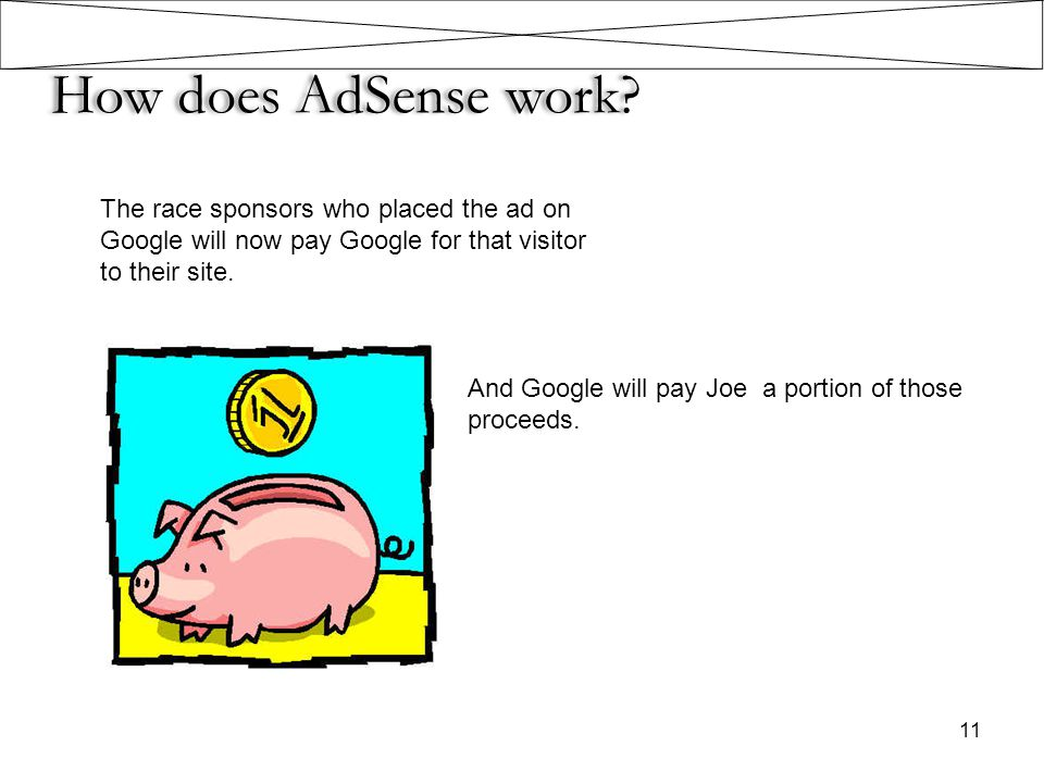 How does AdSense work? The race sponsors who placed the ad on Google will now pay Google for that visitor to their site. 11 And Google will pay Joe a