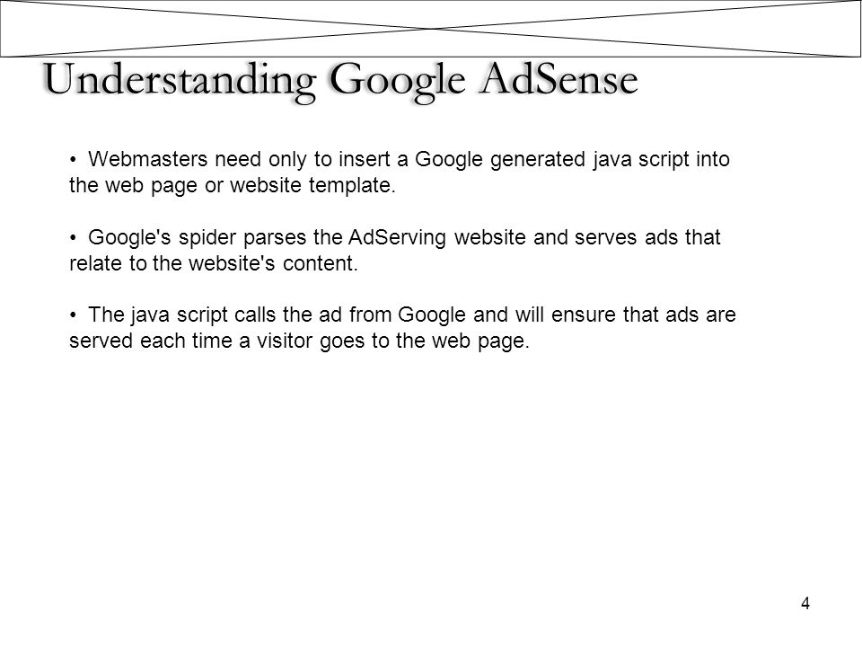 4 Understanding Google AdSense Webmasters need only to insert a Google generated java script into the web page or website template. Google's spider pa
