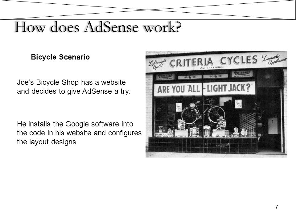 How does AdSense work? Bicycle Scenario Joe's Bicycle Shop has a website and decides to give AdSense a try. He installs the Google software into the c
