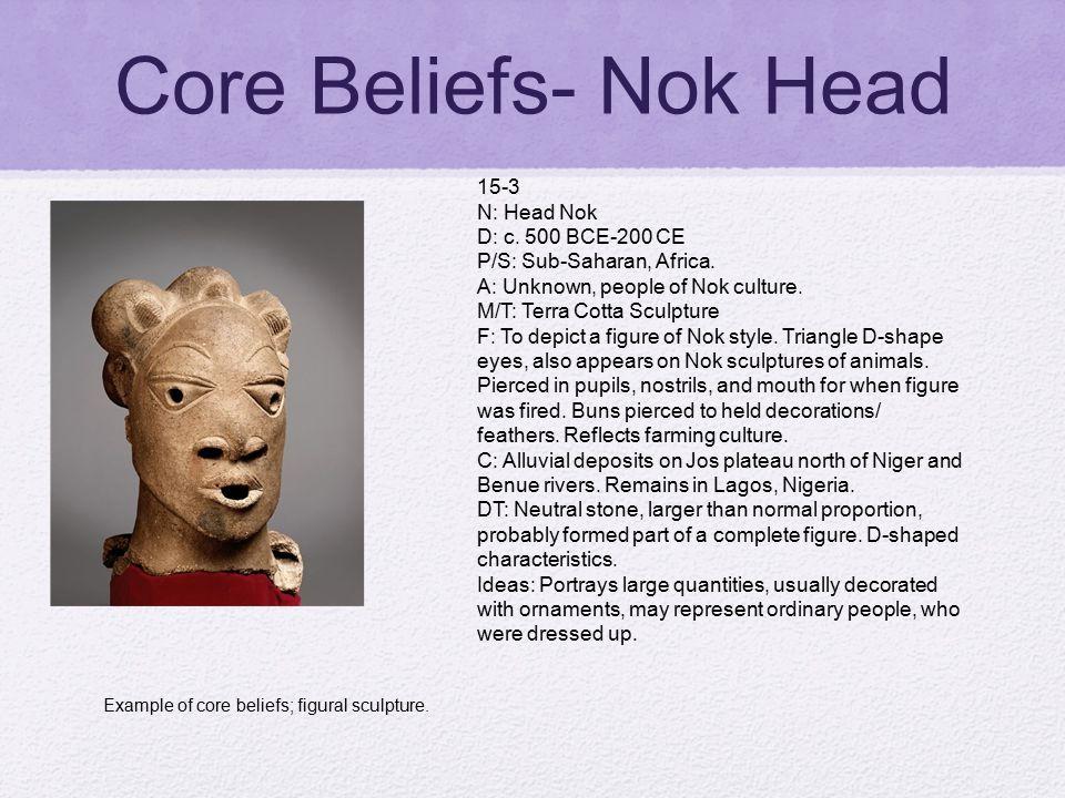 Core Beliefs- Nok Head 15-3 N: Head Nok D: c. 500 BCE-200 CE P/S: Sub-Saharan, Africa. A: Unknown, people of Nok culture. M/T: Terra Cotta Sculpture F