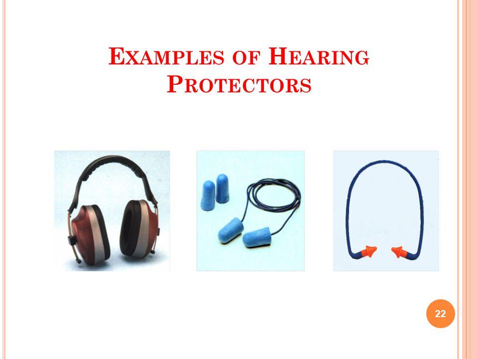 E XAMPLES OF H EARING P ROTECTORS 22 EarmuffsEarplugsCanal Caps
