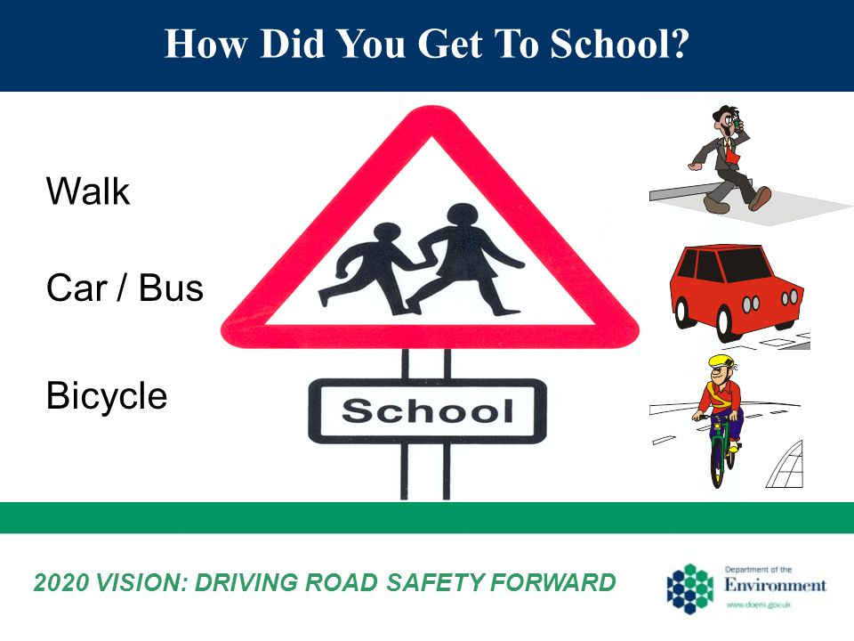 How Did You Get To School Walk Car / Bus Bicycle 2020 VISION: DRIVING ROAD SAFETY FORWARD