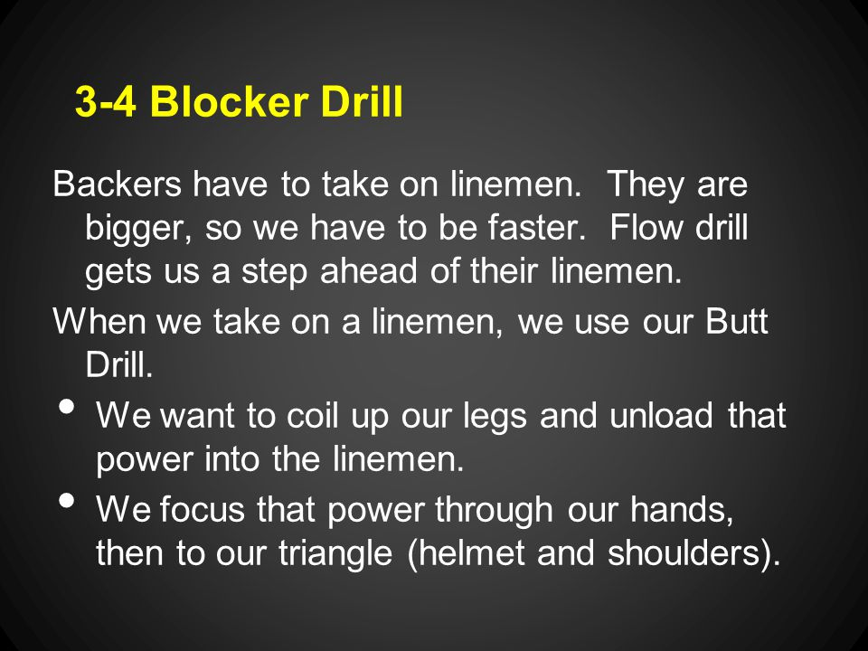 3-4 Blocker Drill Backers have to take on linemen.