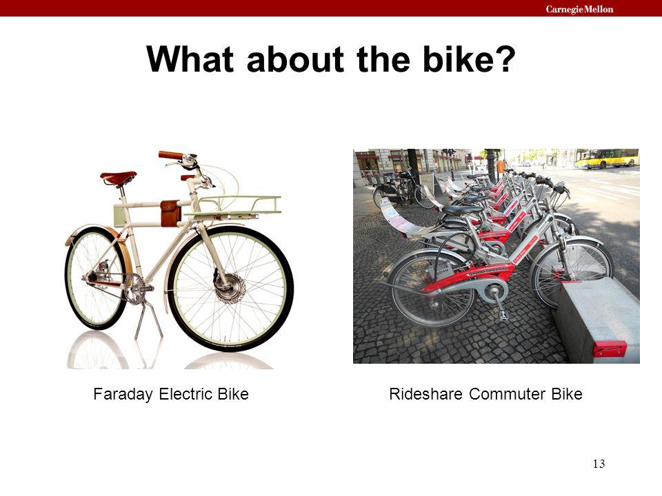 What about the bike? 13 Faraday Electric BikeRideshare Commuter Bike