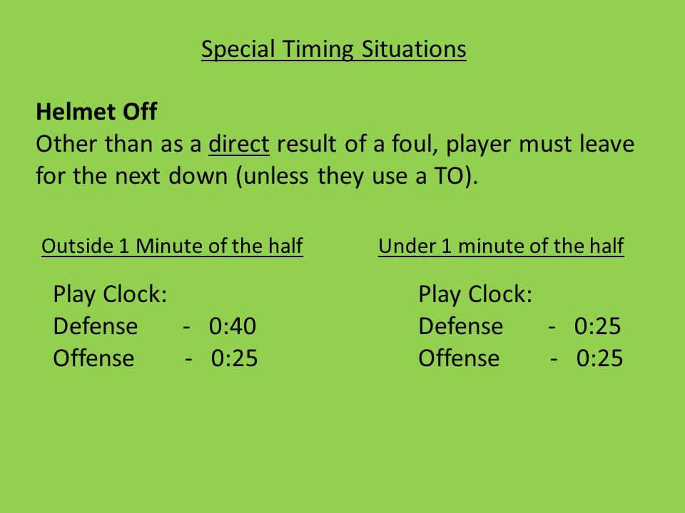 Special Timing Situations Helmet Off Other than as a direct result of a foul, player must leave for the next down (unless they use a TO).