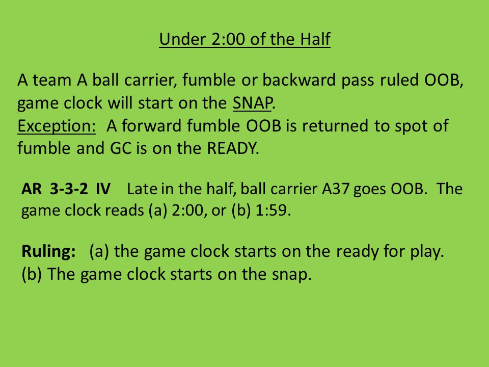 Under 1:00 of the Half ZAP-10 With the game clock running, before a COP, a team commits a foul that causes the clock to stop, 10-second subtraction is an option.