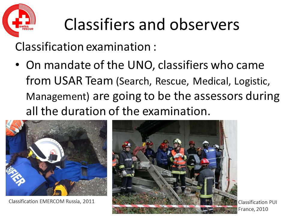 Classifiers and observers Classification examination : The delegate of the General Secretary of INSARAG, who is on-the-spot, will guarantee the good progress of the expertise.