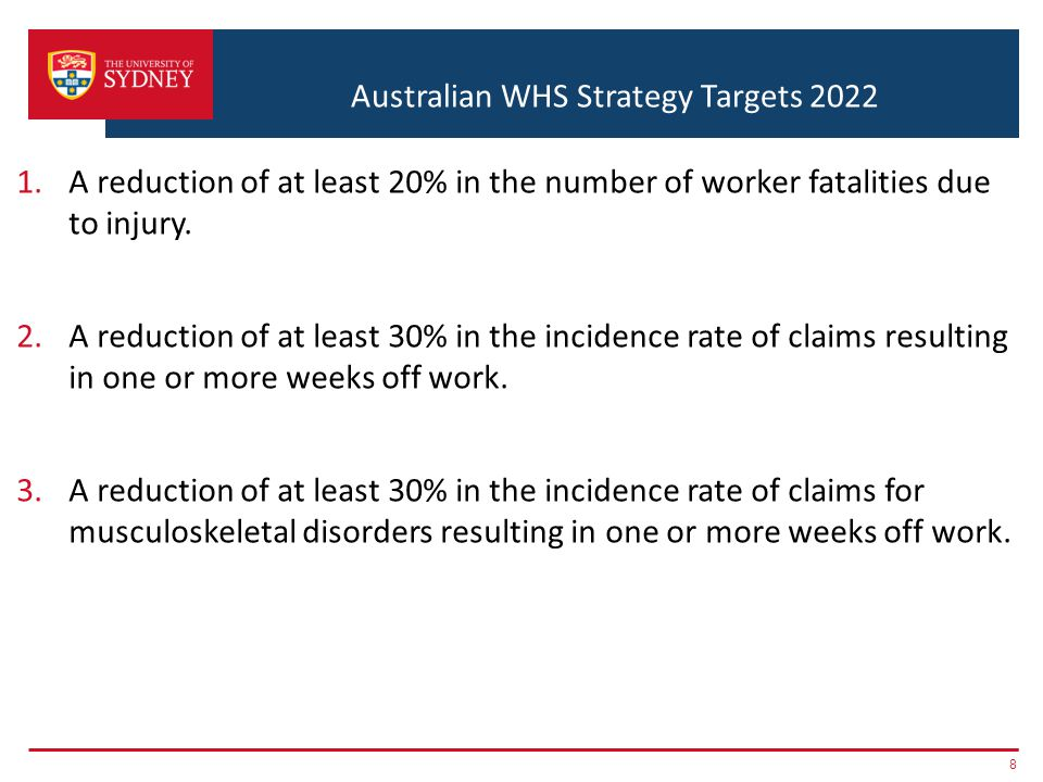 Australian WHS Strategy Targets 2022 1.A reduction of at least 20% in the number of worker fatalities due to injury. 2.A reduction of at least 30% in