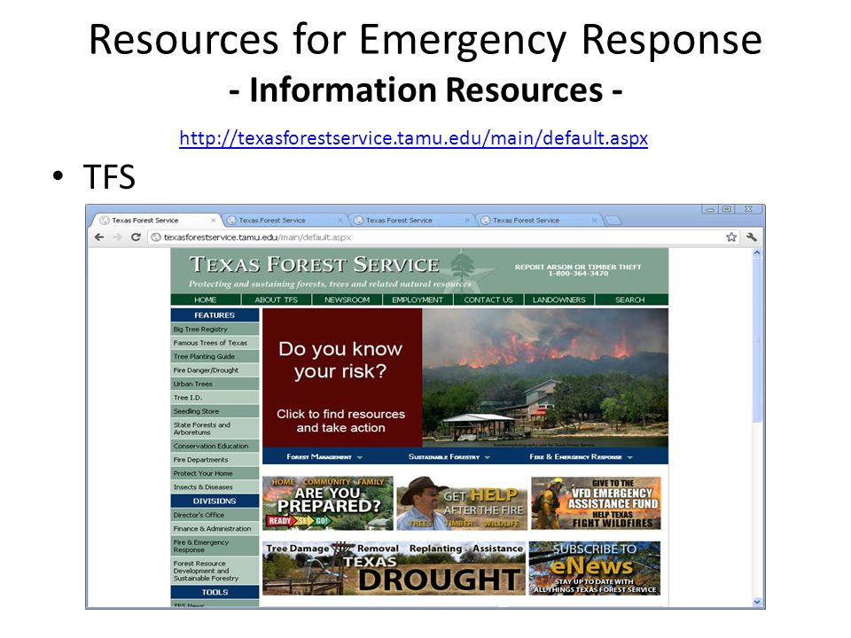 TFS Resources for Emergency Response - Information Resources - http://texasforestservice.tamu.edu/main/default.aspx