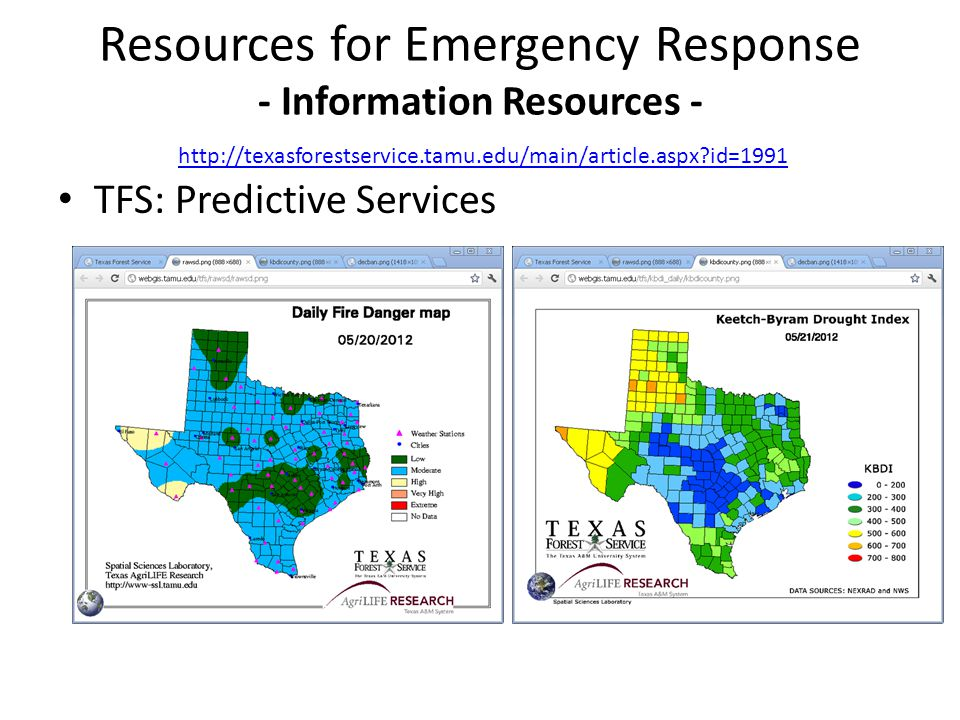 TFS: Predictive Services Resources for Emergency Response - Information Resources - http://texasforestservice.tamu.edu/main/article.aspx?id=1991