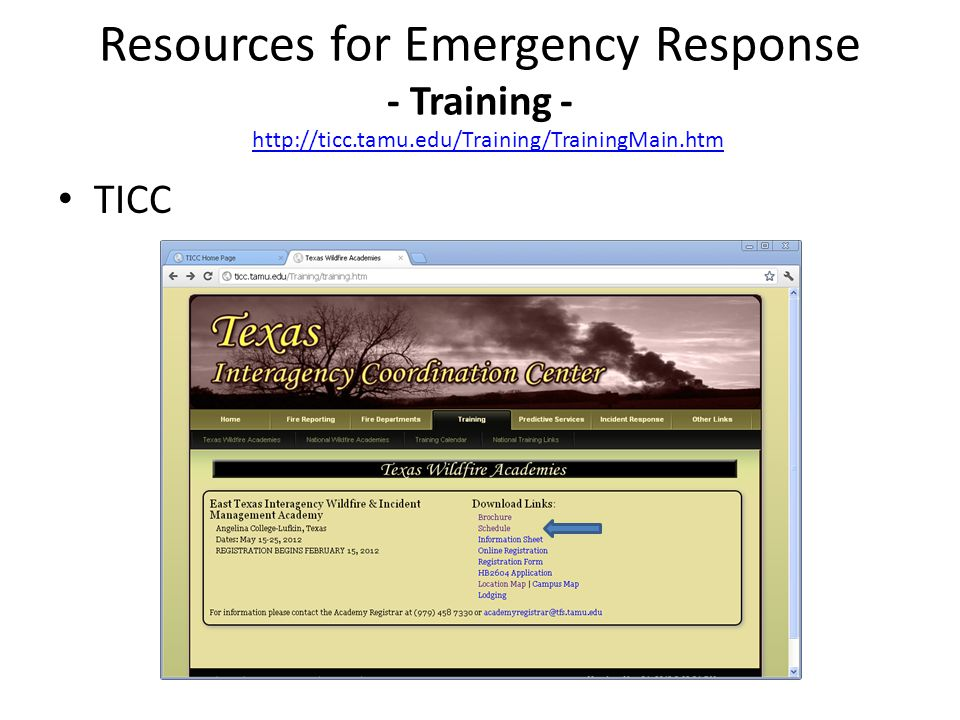 TICC Resources for Emergency Response - Training - http://ticc.tamu.edu/Training/TrainingMain.htm