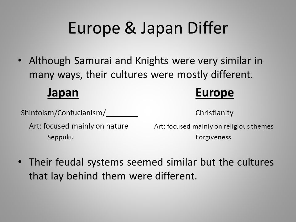 Europe & Japan Differ Although Samurai and Knights were very similar in many ways, their cultures were mostly different. JapanEurope Shintoism/Confuci