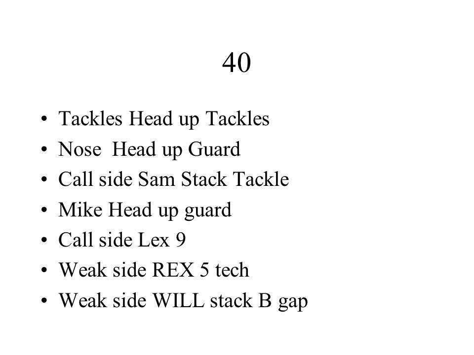 40 Tackles Head up Tackles Nose Head up Guard Call side Sam Stack Tackle Mike Head up guard Call side Lex 9 Weak side REX 5 tech Weak side WILL stack