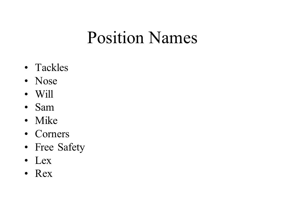 Position Names Tackles Nose Will Sam Mike Corners Free Safety Lex Rex