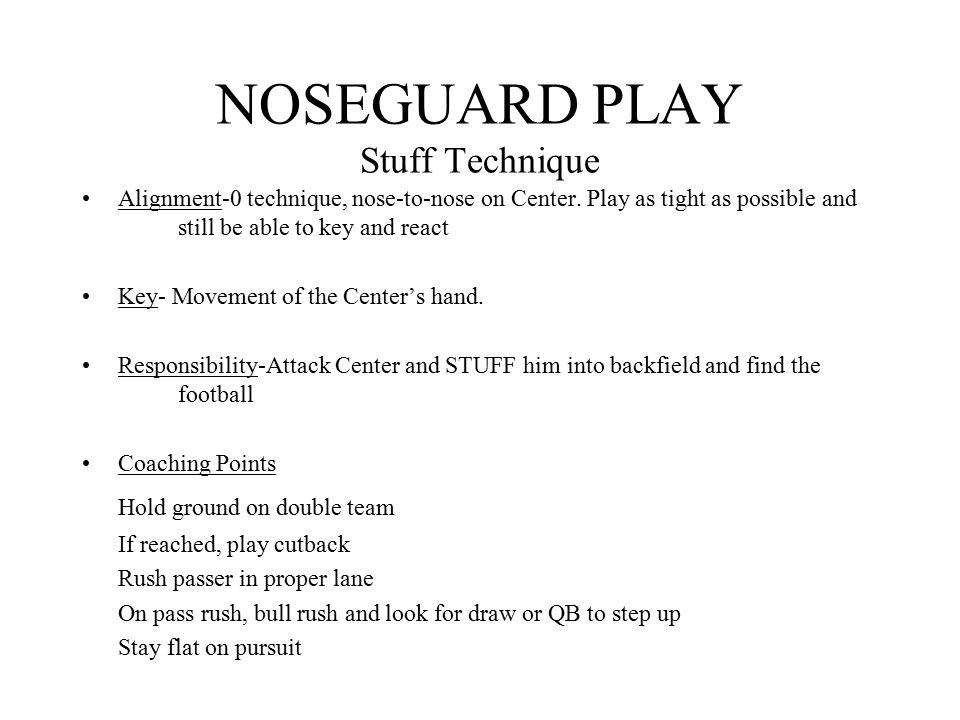 NOSEGUARD PLAY Slant Technique Alignment-0 technique, nose-to-nose on Center.