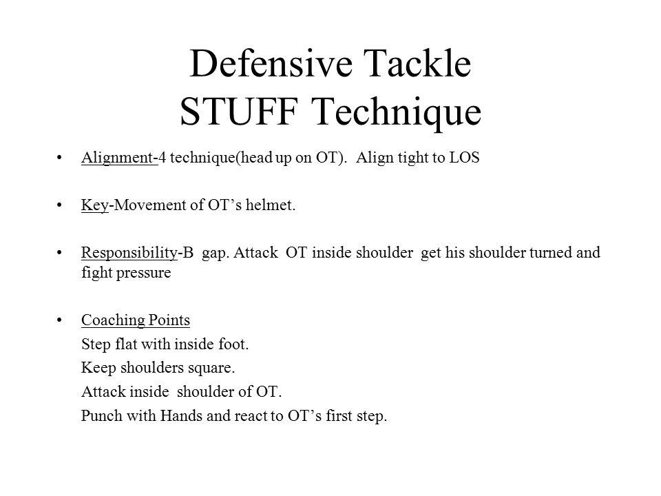 Defensive Tackle STUFF Technique Alignment-4 technique(head up on OT). Align tight to LOS Key-Movement of OT's helmet. Responsibility-B gap. Attack OT