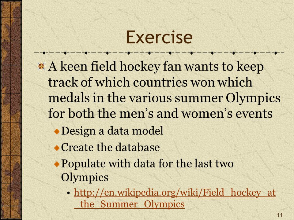 Exercise A keen field hockey fan wants to keep track of which countries won which medals in the various summer Olympics for both the men's and women's