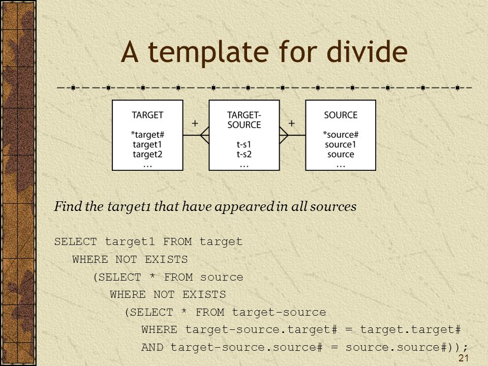21 A template for divide Find the target1 that have appeared in all sources SELECT target1 FROM target WHERE NOT EXISTS (SELECT * FROM source WHERE NOT EXISTS (SELECT * FROM target-source WHERE target-source.target# = target.target# AND target-source.source# = source.source#));