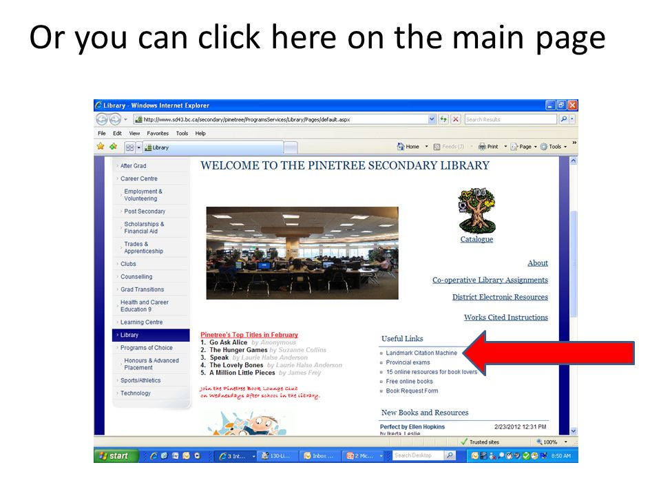 Or you can click here on the main page